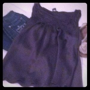 Tops - Charcoal silky top with lace accent